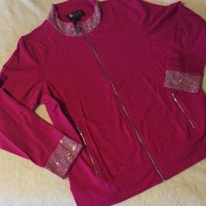 Pink sweater with Swarovski crystals